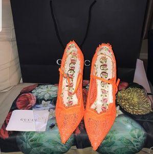 New Gucci Orange Lace Virginia pumps